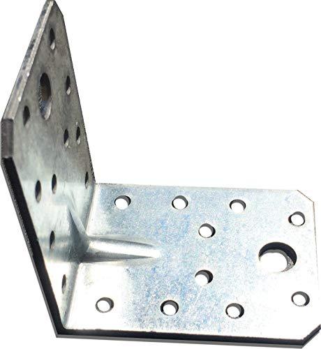 OMIdeas 70x70x55x2 Winkelverbinder mit Sicke Lochplattenwinkel, Silber Verzinkt / 10 Stück