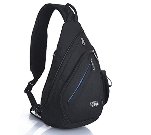 EGOGO Multifunktions Schultertasche Rucksack Crossbody Tasche Sling Tasche Wandern Dackpack EIN sollte Schultergurt für Männer und Frauen E300-4 (Hot Black)