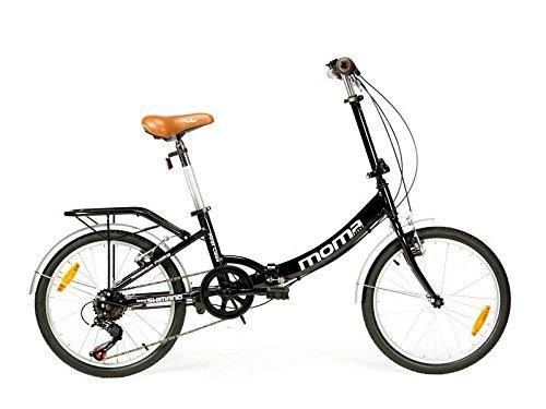 "Moma Bikes Plegable Ruedas 20"" Shimano. Aluminio Bicicleta, Unisex Adulto, Negro"