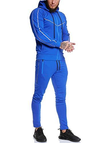 Code47 Herren Trainingsanzug Trainings-Anzug Reflektor Jogginganzug Jogger Sweat Sportanzug Jogging Anzug Hoodie-Sporthose Jogging-Anzug Jogging-Hose (XL, Blau)