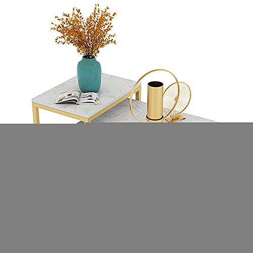 WUDAXIAN Mesas de Centro rectangulares de mármol sintético, Juego de Nido de 2 mesas auxiliares con Marco de Metal Duradero, mesas auxiliares apilables para Sala de Estar