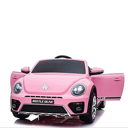 Poooc 12V Lovely Ride on Cars Coche eléctrico for niños PuVolkswagen Beetle Coche de Doble tracción for niños con Control Remoto,  Puerta Doble,  Rosa ( Color : Pink )