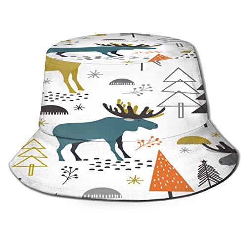PUIO Sombrero de Pesca,Patrón de Navidad sin Fisuras Diseño de bosques de Alces,Senderismo para Hombres y Mujeres al Aire Libre Sombrero de Cubo Sombrero para el Sol