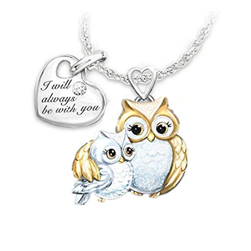 I Will Always be with You Trendy Cute Animal Pendant Owl Two-Color Lettering Love Necklace(Perimeter:51-80CM)