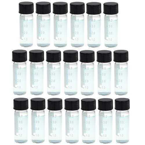 iplusmile 20 Stks Helder Glazen Flesjes 4 Ml Vloeistof Monsterflesjes Flesjes Met Schrijfgebied Schaal Schroefdop Kruid Specerij Flesje Container Voor Lab Reizen Diy Ambachtelijke Benodigdheden