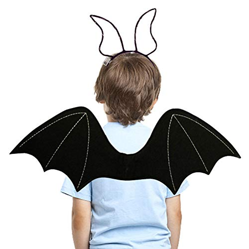Lulu Home Halloween Bat Wings for Kids, Black Bat Wings with Light Up Headband, Kids Bat Wing Costume Vampirina Costume Devil Wings for Boys and Girls