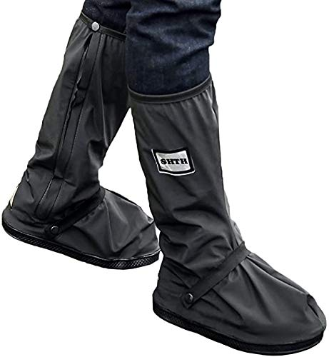 USHTH Black Waterproof Rain Boot Shoe Cover with reflector (1 Pair) (Black-XXL(13.4inch))
