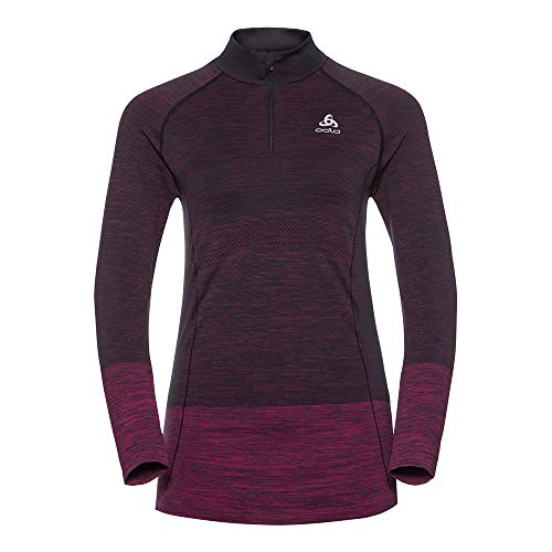 Odlo Briana Seamless Midlayer 1/2 Zip Top à Manches Longues Femme, Multicolore (Black/Pink Glow 60096), 32 (Taille Fabricant: X-Small)