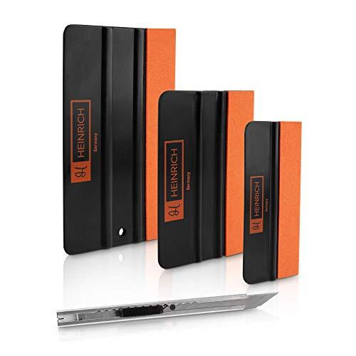 HEINRICH Germany Folienrakel Set - Premium Rakel Set zum Folieren - Profi Folierungs Werkzeug mit 3 Rakeln und 1 Edelstahl Messer