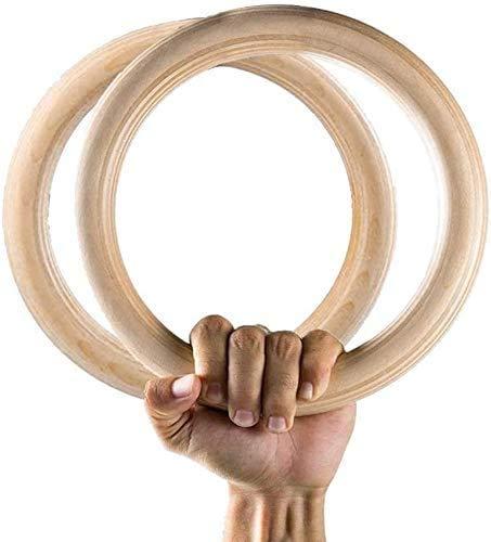 Mayyou - Anillos de gimnasia de madera con correas ajustables resistentes para gimnasio, entrenamiento de cruz, entrenamiento de fuerza, dominadas y salsas, 2CS108KRU14636NRIP9Y, Sin cincha.
