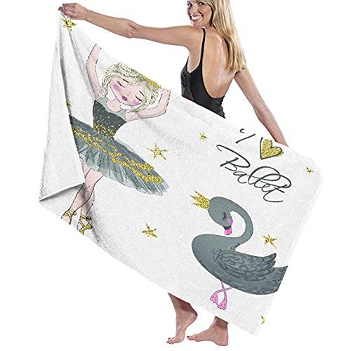 Toalla de Playa de Microfibra de Gran tamaño,Dibujado a Mano Hermosa niña Bailarina encan,Toalla de baño Absorbente Suave y Ligera para Nadar, Deportes, Piscina, Gimnasio, Camping (52 × 32 Pulgadas)