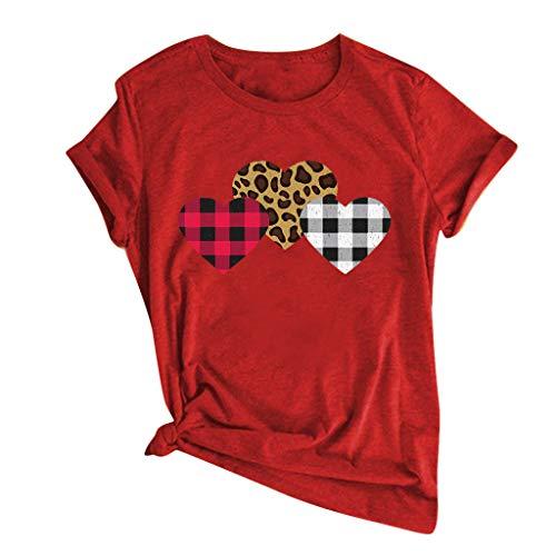 KIMODO Damen T-Shirt Sommer Kurzarm Tops Bluse Valentinstag Herz gedruckt Kurzarm O-Neck T-Shirt S-3XL (D-Rot, Medium)