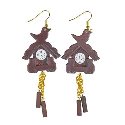 Miniblings Kuckucksuhr Ohrringe Schwarzwald Uhr Uhren Wanduhr Holz braun - Handmade Modeschmuck I Ohrhänger Ohrschmuck versilbert