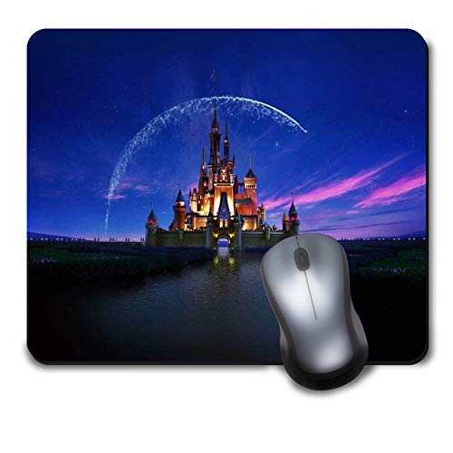 Classic Fantastic Cartoon Disney Castle with Fireworks in The Blue Sky Unique Design Mouse Pad,Computer Gaming Mousepad for Desktop and Notebook