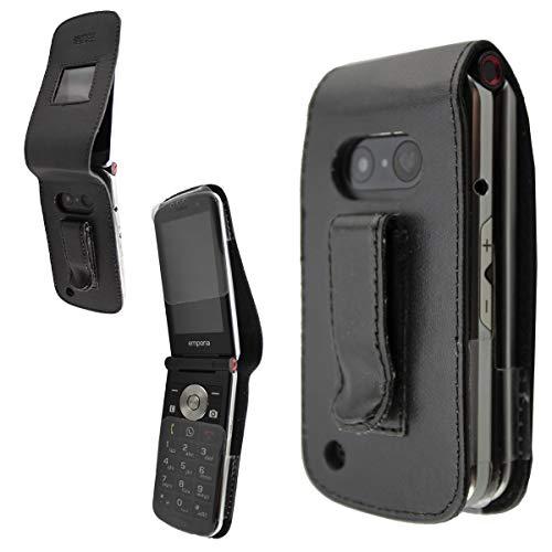 caseroxx Hülle Ledertasche mit Gürtelclip für Emporia TOUCHsmart V188 aus Echtleder, Tasche mit Gürtelclip & Sichtfenster in schwarz