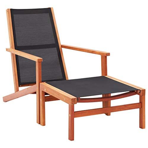 vidaXL Eucalyptus Chaise de Jardin avec Repose-Pied Chaise Longue de Patio Siège d'Extérieur Transat de Terrasse Chaise d'Extérieur Textilène