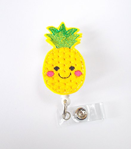 Pineapple Badge Holder - ID Felt Badge Holder - Hawaii Badge Reel - Nurses Badge Holder - Fruit Badge Reel - Dietitian Badge - RN