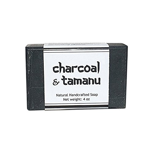 Activated Charcoal Bar Soap - All Natural Detox Black Soap with Shea Butter, Cocoa Butter, Coconut Oil, Olive Oil, Tea Tree Oil and Tamanu Oil to Keep Skin Soft, Clear and Hydrated (One Bar)