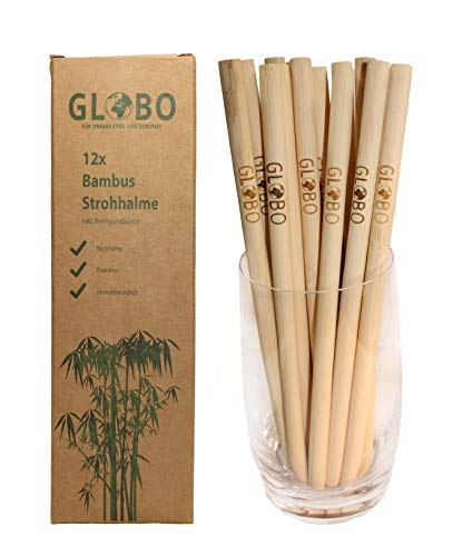 Globo - Cannucce in bambù, riutilizzabili e sostenibili, ecologiche, con spazzola per la pulizia, lavabili in lavastoviglie, 20 cm, confezione da 12 pezzi