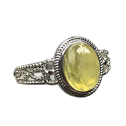 Anillo de ámbar amarillo natural para mujer, cuentas de 9 x 6 mm, joyería de moda