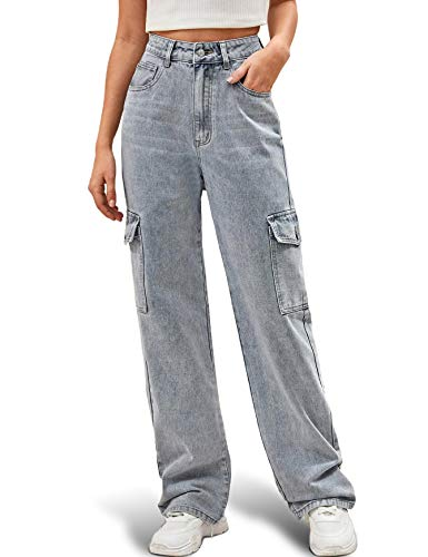 Ugerlov Women's High Waist Flap Pocket Side Baggy Jeans Relaxed Fit Casual Straight Stretch Wide Leg Cargo Jean, Gray Medium