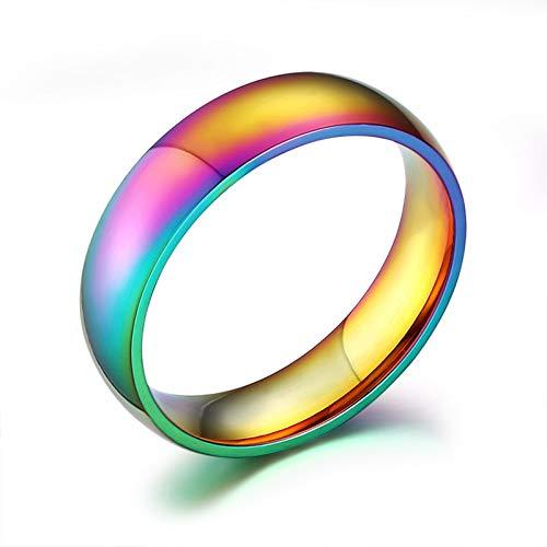 Beydodo Rainbow Rings Men Gay Pride, Mens Thumb Rings Stainless Steel Multicolor Ring 6mm Width Size X 1/2