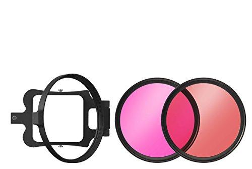 B+W onderwaterfilterset voor GoPro Hero 5 bestaande uit filterhouder en rood- en magenta filters