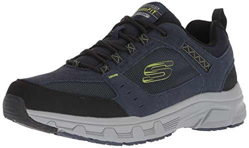 Skechers Oak Canyon, Zapatillas Hombre, Multicolor (NVLM Black Leather/PU/Mesh/Trim), 44 EU