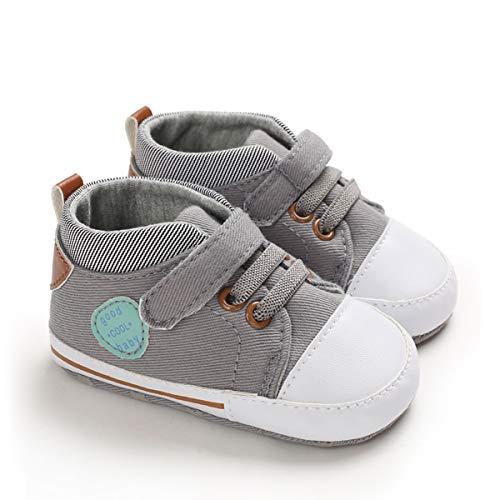 DEBAIJIA Lauflernschuhe Baby Segeltuchschuhe 6-12M Kinder Turnschuhe Jungen Leichtes Leinen Schuhe Mädchen Weiche Sohle 18 EU Grau (Etikettengröße 2)