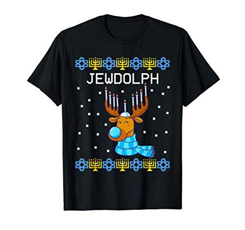 Jewdolph Ugly Hanukkah Sweater Reindeer Menorah Chanukah T-Shirt
