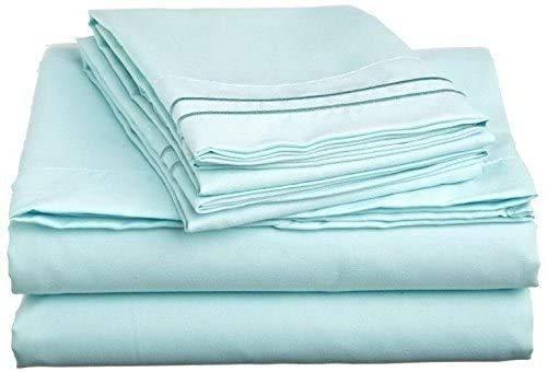 Tula Linen Juego de sábanas de algodón Egipcio de 800 Hilos en Color sólido, (UK King Size 150 x 200 CM, Aguamarina )