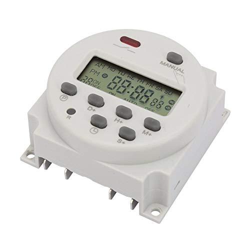 Interruptor de temporizador digital con visualización 1S ~ 168h 5VA pequeño interruptor temporizador 7 días programable para control electrónico (12V DC)