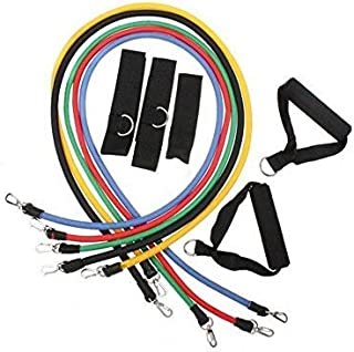 Beauenty for 11pcs Latex Resistance Bands Fitness Exercise Tube Rope Set Yoga ABS P90X Workout [H8329 ]