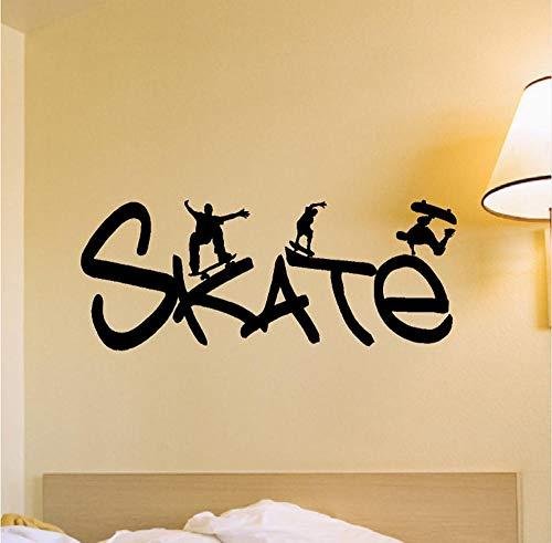 ykxykw Extreme Sport Skate Quotes Vinyl Muursticker Skaters Met Skateboard Wandmuursticker Sport Serie Home Slaapkamer Cool Decor