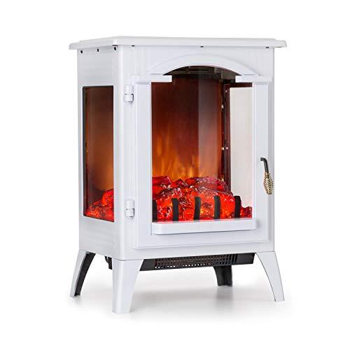 Klarstein Graz Elektrischer Kamin mit Flammeneffekt - Elektrokamin, E-Kamin, 1000/2000 Watt, bis zu 30 m², Thermostat, Heizfunktion, stufenlos dimm- und heizbar, PanoramaView, weiß