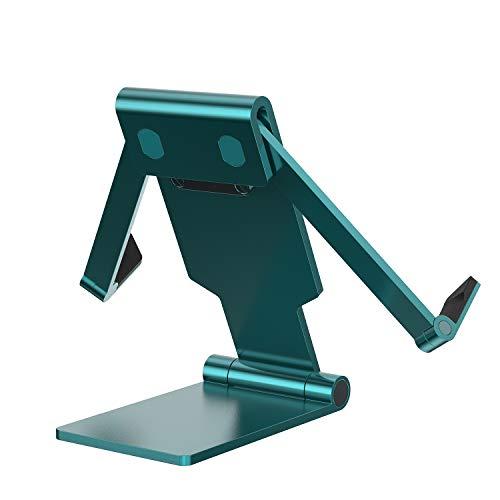 4smarts Soporte de mesa plegable para móviles y tabletas, universal, para escritorio, plegable, compatible con iPhone 12 Pro Max, iPad, Samsung S21 (anchura mínima de 50 mm), diseño de pavo real
