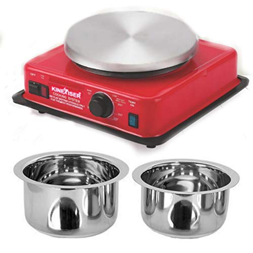COOKWELL Steel Red Kinetizer Electric Hot Plate Low Power Consumption 200 watts to 900 watts, Temparature 50°c to 350°c with Automatic Thermostat. Strong - Durable - Reliable