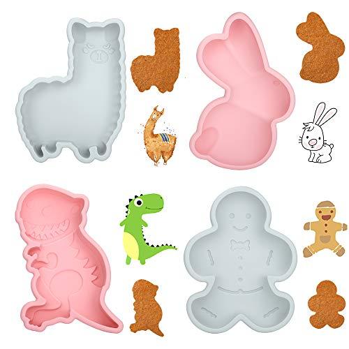 YIVIN Ostern Kaninchen Kuchenformen Set, 3D Silikon Hase Backform DIY Cartoons Formen Dinosaurier Lebkuchenmann Alpaka Schokoladen Süßigkeiten Formen handgefertigt Tools für Jelly Sugar Candy