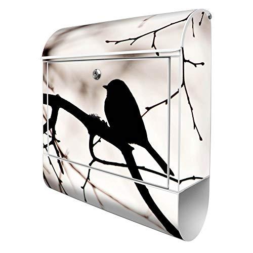 Banjado Design Briefkasten mit Motiv Früher Vogel | Stahl pulverbeschichtet mit Zeitungsrolle | Größe 39x47x14cm, 2 Schlüssel, A4 Einwurf, inkl. Montagematerial