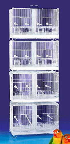 Mcage Large Lot of 4 Stackable Breeding Breeder Flight Bird Quail Cages with Center Dividers for Budgies Aviaries Canaries Lovebirds Finches Parakeets