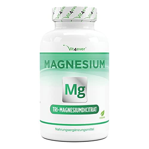 Citrato de magnesio - 365 cápsulas - 2250mg davob 360 mg de magnesio elemental por porción diaria - 100% citrato de tri-magnesio sin aditivos - Altamente dosificado - Vegano