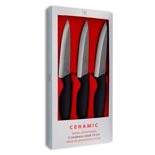 Le Couteau du Chef, Tarrerias Bonjean 442885 Set de 3 Couteaux Steak avec Protection de Lame Céramique Noir 10 cm