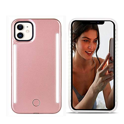 LNtech Selfie Light up Case Compatible with iPhone 12/iPhone 12 Pro, Rechargeable LED Light Up Flash Lighting Selfie Case Dual Side Flashlight Illuminated Cover [Dimmable Switch] (Rose Gold)