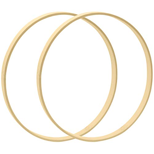 Worown 2pcs 12 Inch Wooden Bamboo Floral Hoops Wreath Rings for Making Wedding Wreath Decor and Wall Hanging Craft