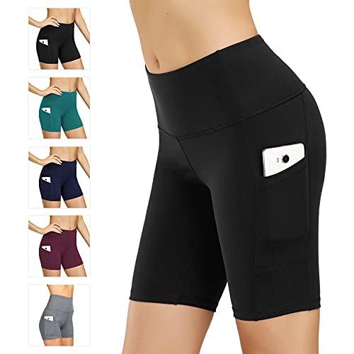 Leggings de yoga para mujer, talle alto, bolsillos para efecto faja, pantalones de entrenamiento, pantalones informales, Mujer, Pantaloni cropped, wf.Negro, extra-large
