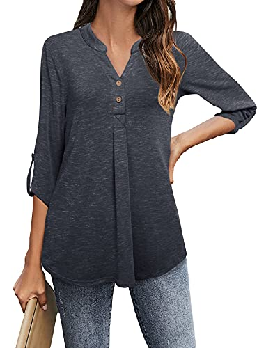 Messic Lightweight Top for Women, Casual Lightweight Tunic Tops for Work Office Blouse Roll up Sleeve Cozy Utility Loose Henley Shirts Comfy Knit Tunic Tops Carbon Black,Large