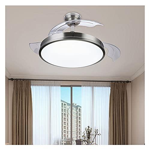 SDHENAILIAN Lampadario Ventilatori da Soffitto con Lampada,Moderno Lampadario A Ventaglio A LEDcon Telecomando A Tre Colori, Dimmerabile, per Camera da Letto per Interni