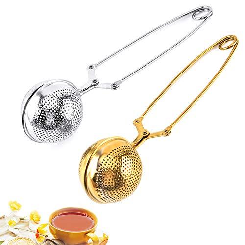 Filtro the infusione acciaio, 2pcs 5.5cm Infusore tè acciaio inox, Colino Tisane, Tea Infusore Acciaio Inox Infusore tè Filtro a Loose Leaf per tè, Pinze Filtro Te per Ogni tè Sfuso, Foglie di tè