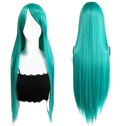 32inches/80cm Long Straight Anime Costume Cosplay Party Wig Silky Heat Resistant Synthetic Full Hair Wigs With Bangs For Women (Green)