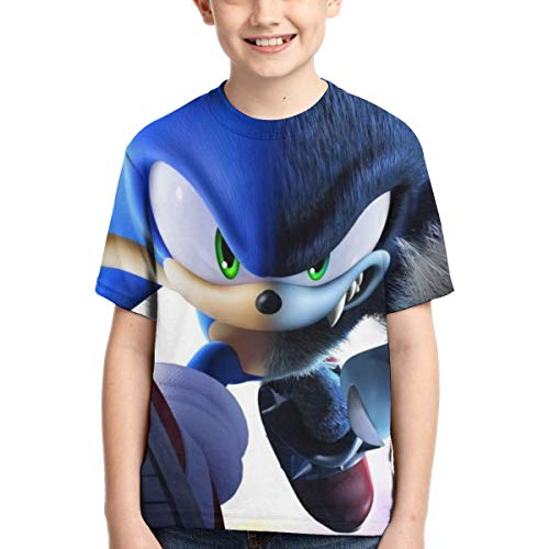 Muindancer Hedgehogs Sonic Child's Shirt Boys 3D Print Short Sleeve Basic T-Shirt S